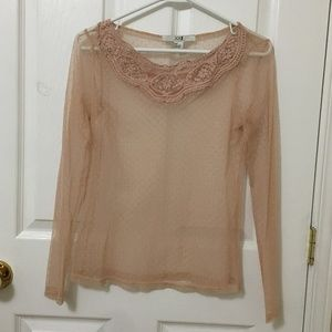⭐️ 2/$20 Forever 21 Nude Pink Sheer Blouse